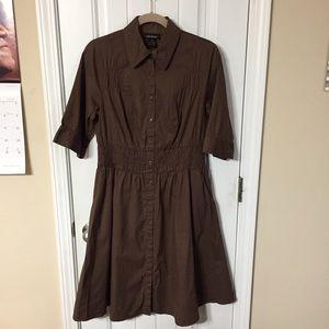 Lane Bryant Brown Cotton Button Down Dress Sz 14W